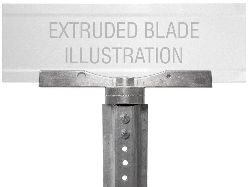 "Extruded blade street name sign mounted on 12"" adjustable u-channel street name bracket"
