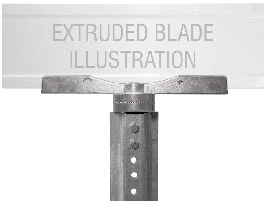 "Extruded blade street name sign mounted on 12"" adjustable u-channel street name bracket"