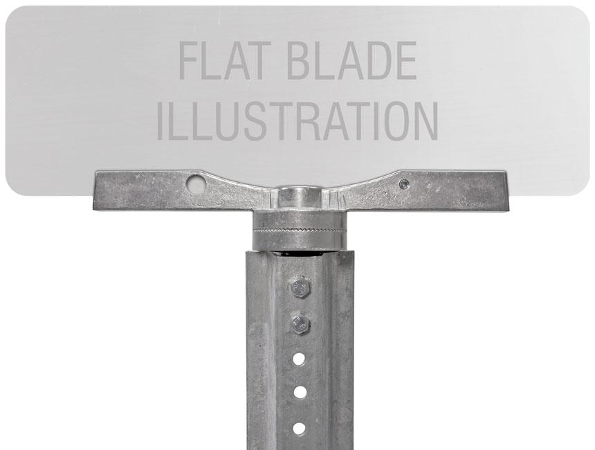 Flat blade street name sign mounted on 12″ cross separator street name bracket