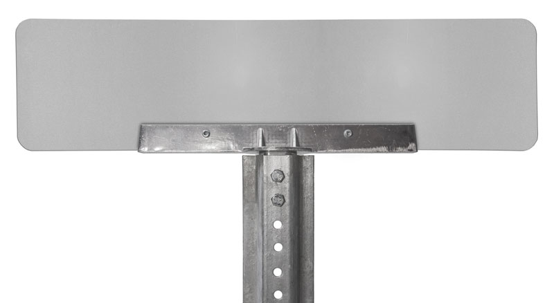 180 degree bracket on u-channel post with mounted street sign