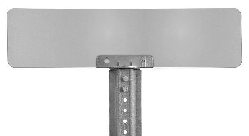 180 degree bracket with mounted sign on u-channel post