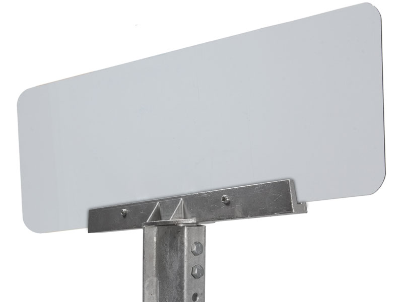 90 degree bracket on u-channel post with mounted street sign
