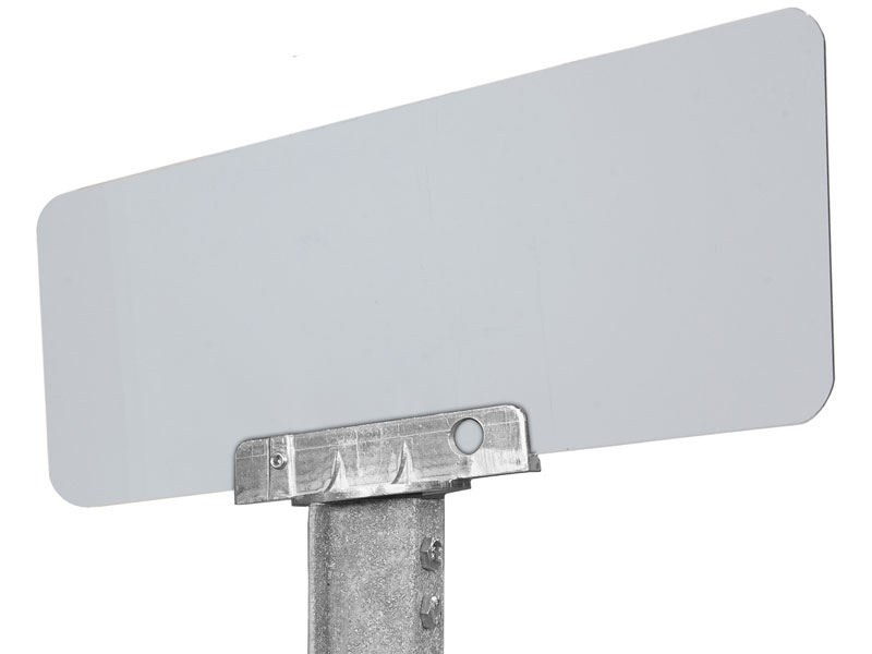 90 degree bracket with mounted sign on u-channel post
