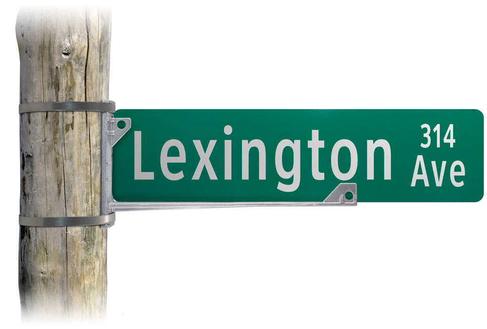 Wing bracket used with street name sign on light pole