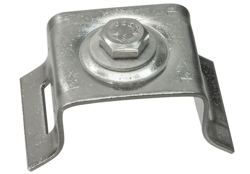 "Flared leg bracket for use with 3/4"" S.S. strapping"