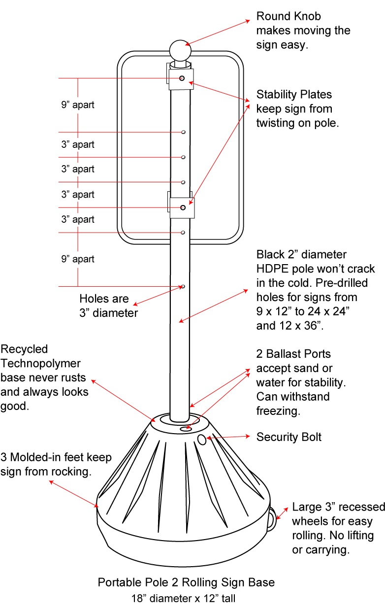 Y3553 Portable Sign Base
