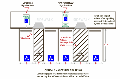 Universal Accessible Parking Space Illustration Option 2