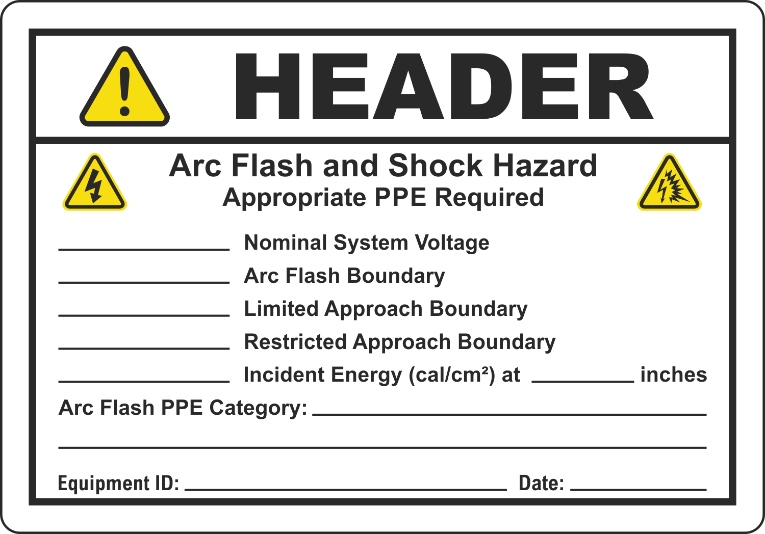2018 Compliant Arc Flash Labels