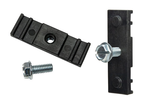 Chain link fence brackets to mount signs with 2 holes at 3/8 inch diameter