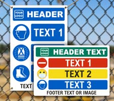 Custom PPE Signs with 3 Images