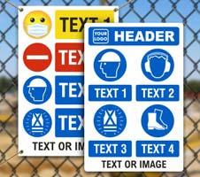 Custom PPE Signs with 4 Images