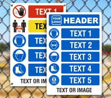 Custom PPE Signs with 5 Images