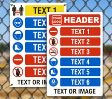 Custom PPE Signs with 6 Images