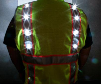 Green LED Vest back night time