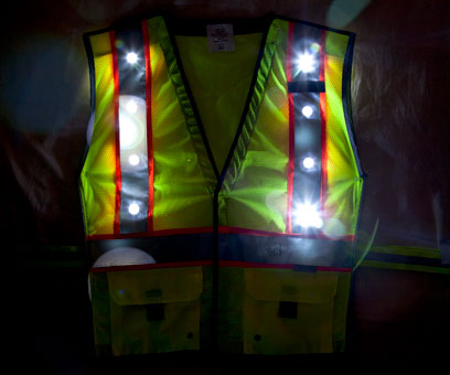 Green LED Vest front night time