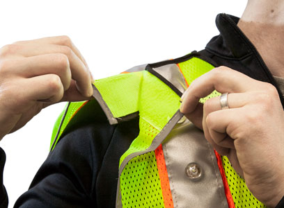 LED vest tear-away points for safety