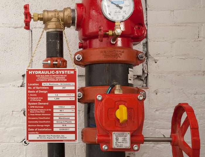 NFPA 13 Hydraulic-System Sign