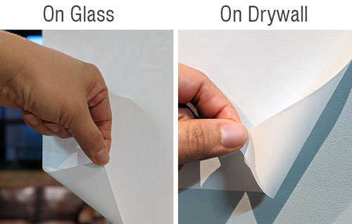 Low-Tack Polyester on glass and drywall