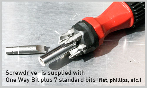 Screwdriver for One way Bolts