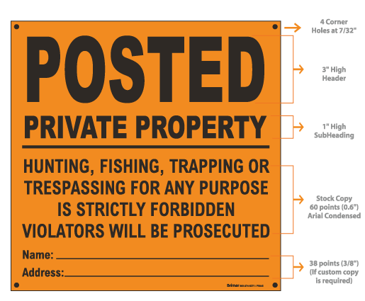 Orange Posted Sign, Private Property