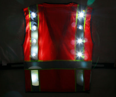 Orange LED Vest back night time