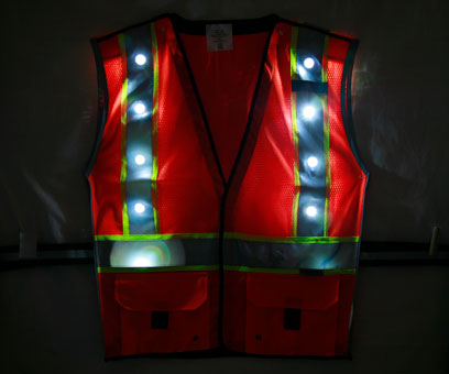Orange LED Vest front night time