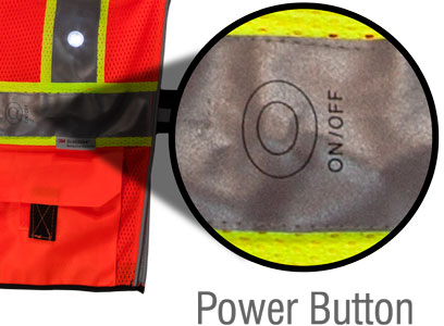 LED vest power controls
