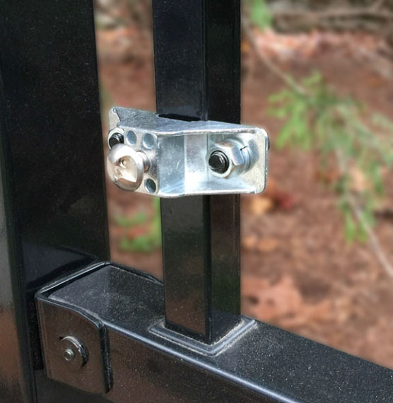 Ornamental fence bracket mounted on 1 inch fence