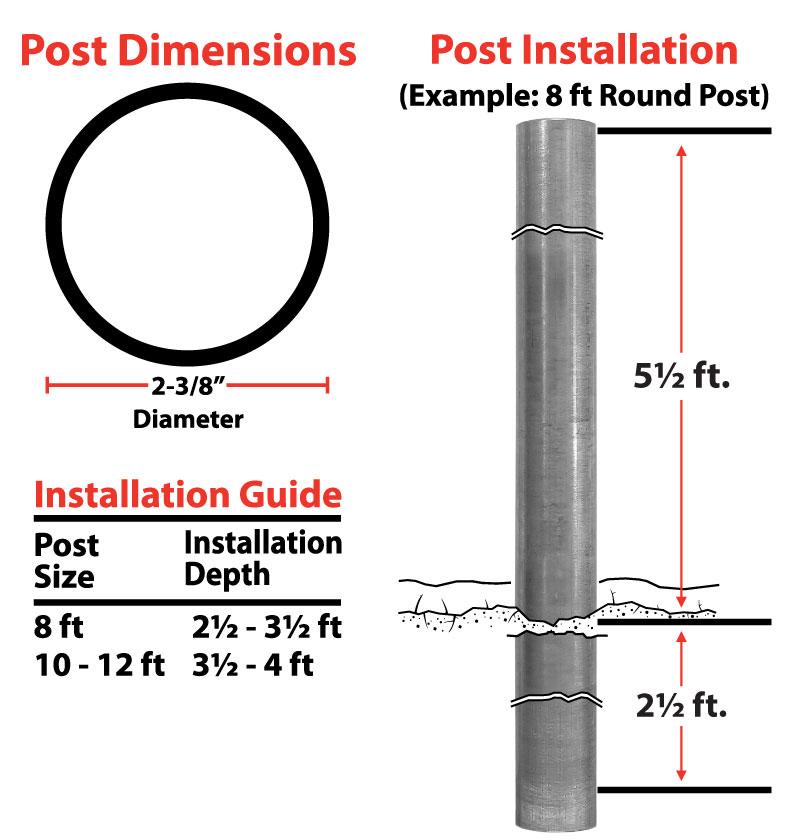 2-3/8 inch Round Post Installation