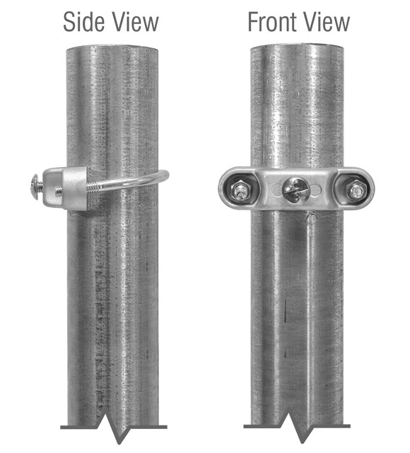 Side and front views of the bracket mounted on round post
