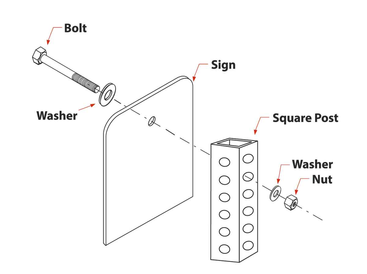 Hex-head Square Post Sign Mounting Hardware