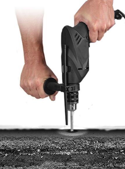 asphalt anchors installation step 1 drill into asphalt layer