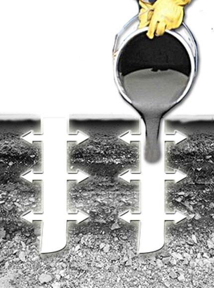 asphalt anchors installation step 2 pour asphalt