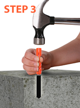 Using a small hammer gently tap the anchors into the holes.