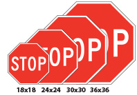 Different sizes of stop signs we offer.