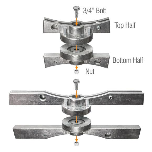 Illustrating the assembly of the adjustable cross separator bracket