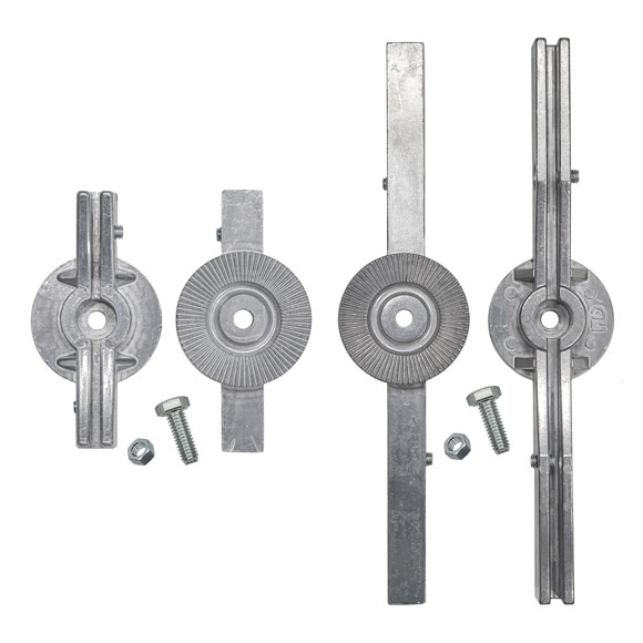 """Separate pieces of the 5.5"""" and 12"""" adjustable cross piece bracket"""