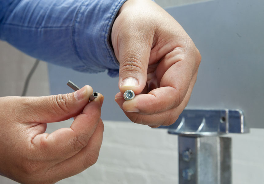 Installation of vandal-resistant set screws with L-Handle Hex Key