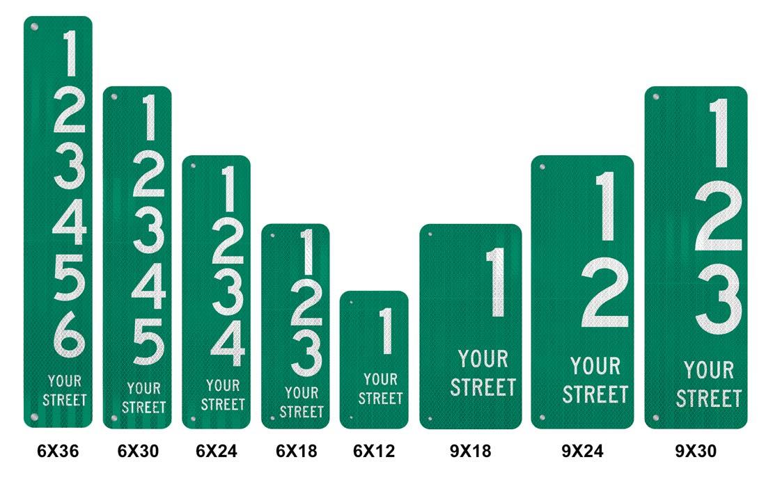 911 Address Signs Size Comparison