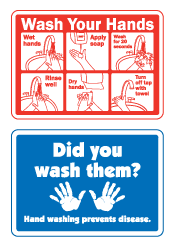 Wash Your Hands Safety Signs