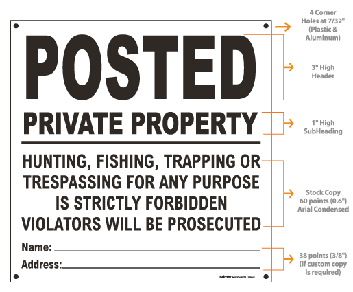 White Posted Sign, Private Property