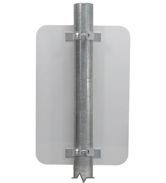 Single mounted sign on round post using the Y3457 bracket