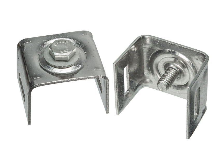 """Straight leg bracket for use with 3/4"""" S.S. strapping"""