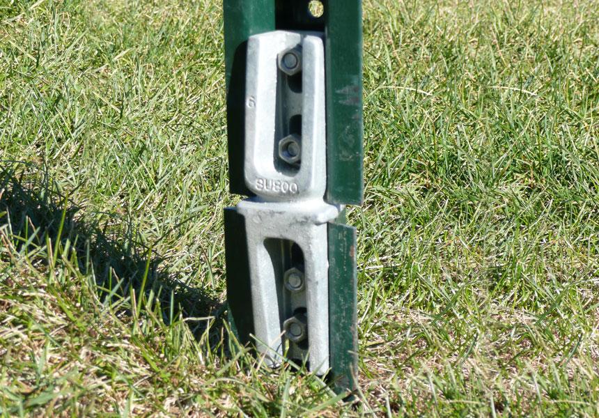 U-channel post ground mount snap'n safe breakaway system on application