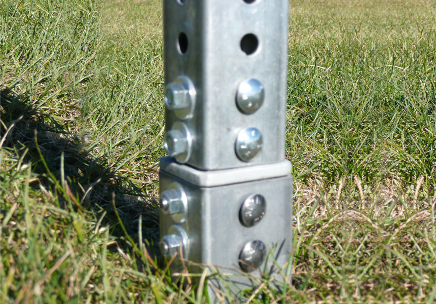 Square post ground mount snap'n safe breakaway system on application