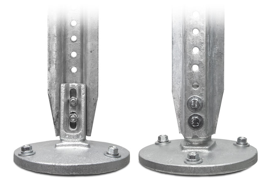 Detailed view of the u-channel post surface mount breakaway