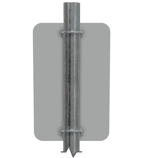 Single mounted sign on round post using the Y4964 bracket