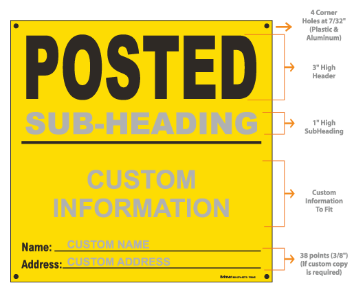 Custom Yellow Posted Sign
