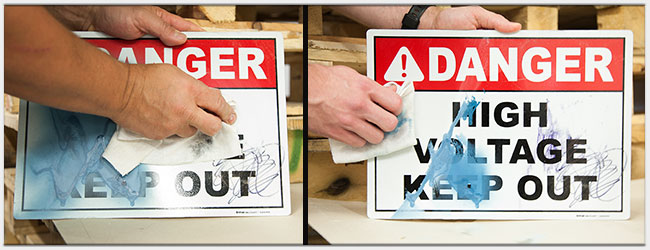Removing Permanent Marker & Spray Paint from Danger High Voltage Sign