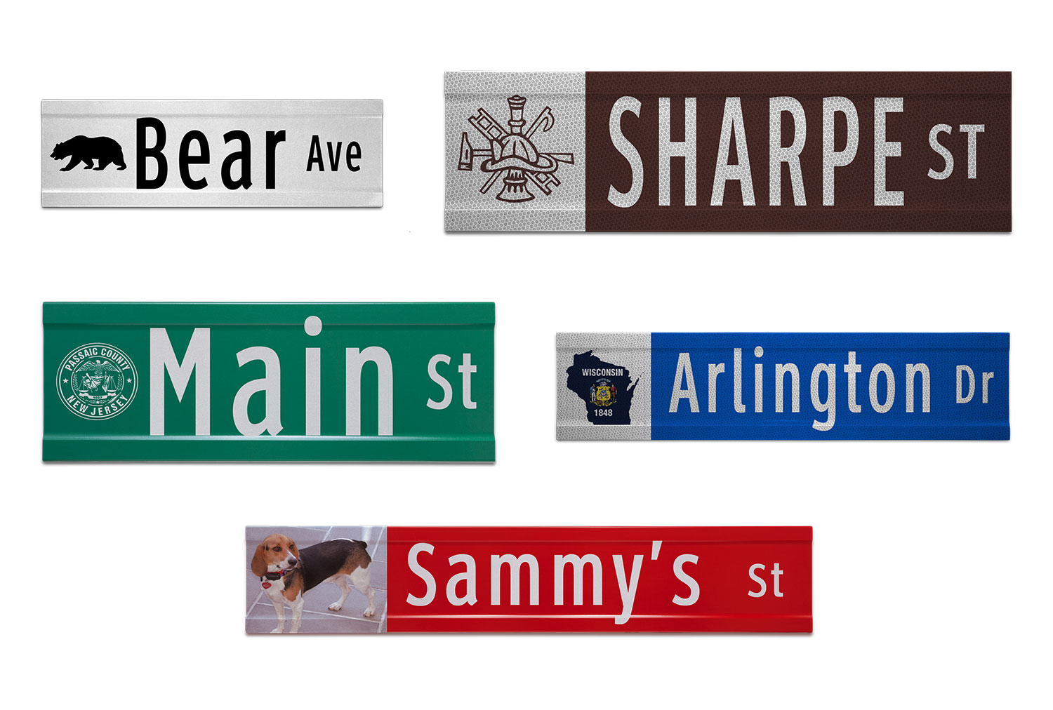 Samples of Printed Extruded Blade Signs with Images